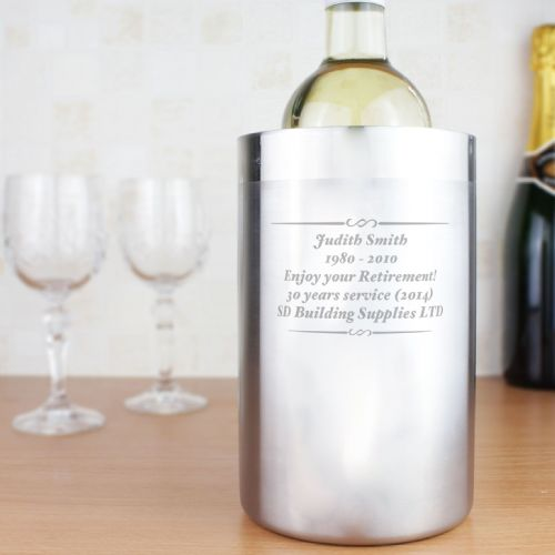 Personalised Any Message Stainless Steel Wine Cooler